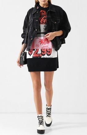 Хлопковое мини-платье с круглым вырезом и принтом Marc Jacobs разноцветный | Фото №1