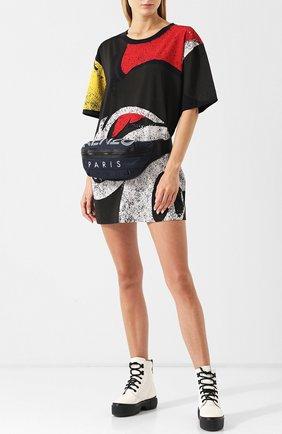 Хлопковое мини-платье с круглым вырезом и принтом Marc Jacobs черное | Фото №1