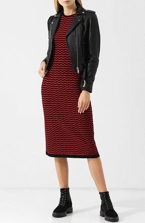 Шерстяное платье-миди с круглым вырезом и принтом Marc Jacobs красное | Фото №1