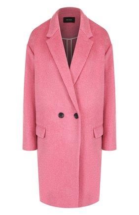 Однотонное пальто из смеси шерсти и кашемира Isabel Marant розового цвета   Фото №1