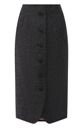 Шерстяная юбка-миди на пуговицах Thom Browne серая | Фото №1