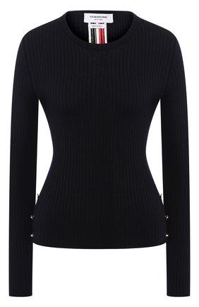 Шерстяной пуловер с круглым вырезом Thom Browne темно-синий | Фото №1