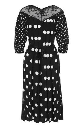Шелковое платье-миди с поясом в горох Marc Jacobs черно-белое | Фото №1