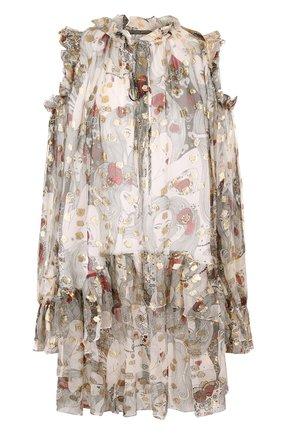 Шелковое мини-платье с оборками и принтом | Фото №1