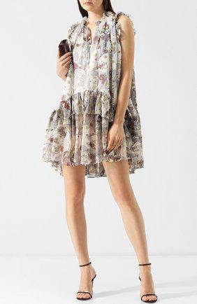Шелковое мини-платье с оборками и принтом Alexander McQueen разноцветное   Фото №1