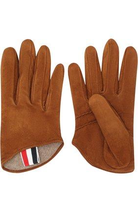 Замшевые перчатки с кашемировой подкладкой Thom Browne коричневые | Фото №1