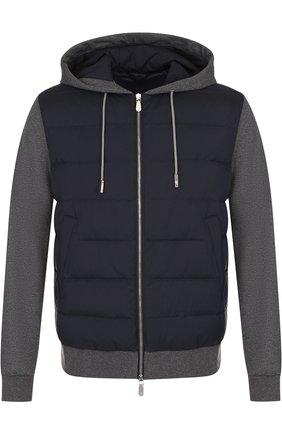 Утепленная куртка на молнии с капюшоном Eleventy Platinum синяя | Фото №1