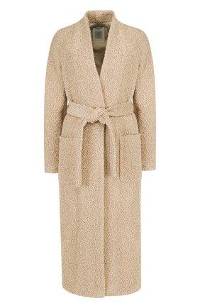 Однотонное шерстяное пальто с поясом и накладными карманами Eleventy Platinum бежевого цвета | Фото №1