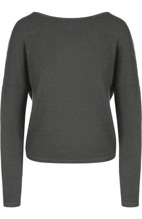 Однотонный пуловер с открытой спиной Monrow хаки | Фото №1