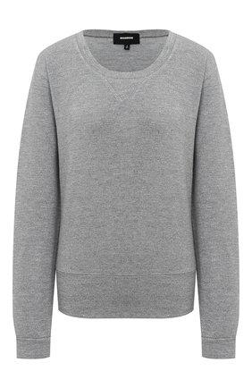 Однотонный пуловер с круглым вырезом | Фото №1