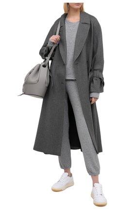 Однотонный пуловер с круглым вырезом Monrow серый | Фото №1