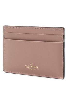 Женский кожаный футляр для кредитных карт valentino garavani rockstud VALENTINO бежевого цвета, арт. QW2P0486/B0L | Фото 2