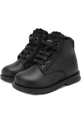 Кожаные ботинки на шнуровке с внутренней меховой отделкой | Фото №1