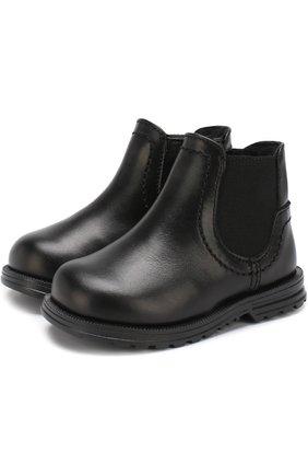 Кожаные ботинки с эластичной вставкой и внутренней меховой отделкой | Фото №1