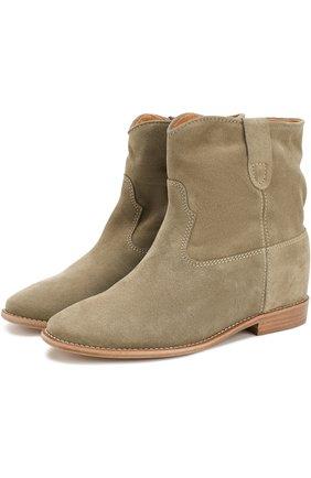 Замшевые ботинки с широким голенищем | Фото №1