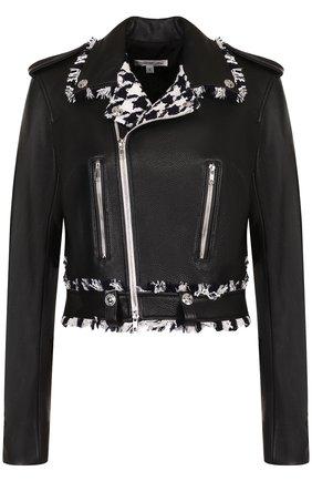 Укороченная кожаная куртка с декоративной отделкой Oscar de la Renta черно-белая | Фото №1