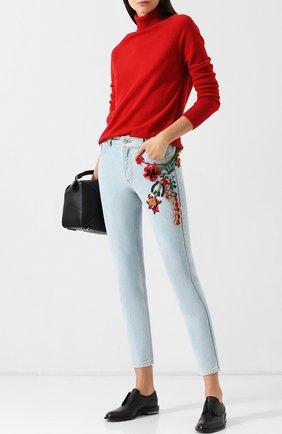Укороченные джинсы с декоративной отделкой Dalood голубые   Фото №1