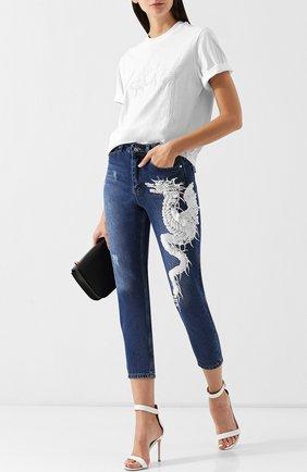 Укороченные джинсы с декоративной отделкой Dalood синие   Фото №1