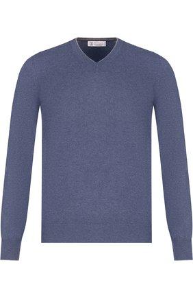 Мужской кашемировый пуловер тонкой вязки BRUNELLO CUCINELLI голубого цвета, арт. M2200162 | Фото 1