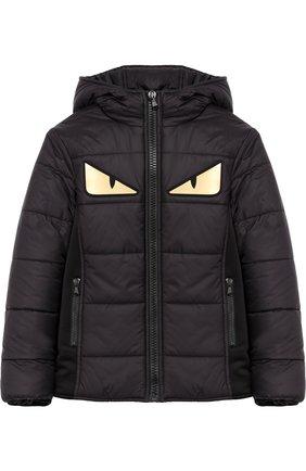 Детский стеганая куртка на молнии с капюшоном и аппликацией FENDI черного цвета, арт. JUA048/5A3/6A-8A | Фото 1