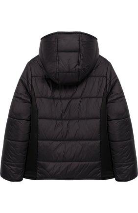Стеганая куртка на молнии с капюшоном и аппликацией | Фото №2