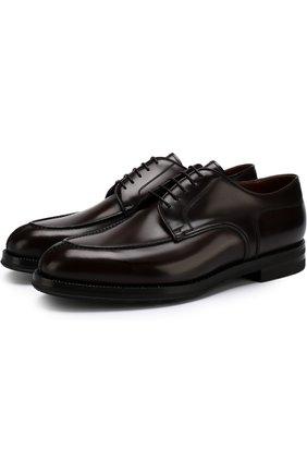 Классические кожаные дерби W.Gibbs темно-коричневые   Фото №1