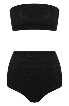 Пляжный хлопковый комплект из ткани в сборку Ruban черный | Фото №1