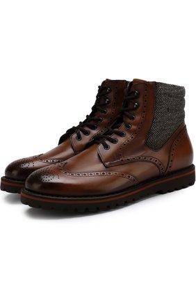 Кожаные ботинки с брогированием на шнуровке W.Gibbs коричневые   Фото №1
