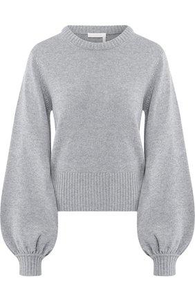 Кашемировый пуловер с круглым вырезом Chloé серый   Фото №1