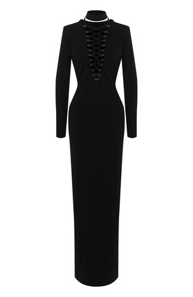 Женское приталенное платье-макси со шнуровкой TOM FORD черного цвета, арт. ABJ148-FAX446 | Фото 1