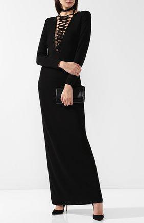Женское приталенное платье-макси со шнуровкой TOM FORD черного цвета, арт. ABJ148-FAX446 | Фото 2