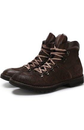 Высокие кожаные ботинки на шнуровке Moma темно-коричневые | Фото №1