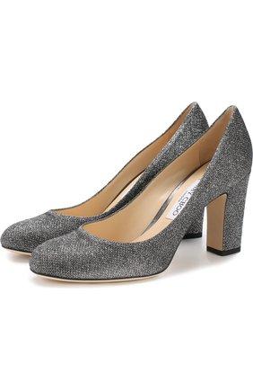 Туфли Bille 85 из металлизированного текстиля на устойчивом каблуке   Фото №1