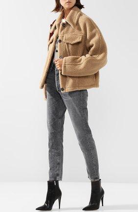Однотонная куртка с отложным воротником Off-White бежевая | Фото №1