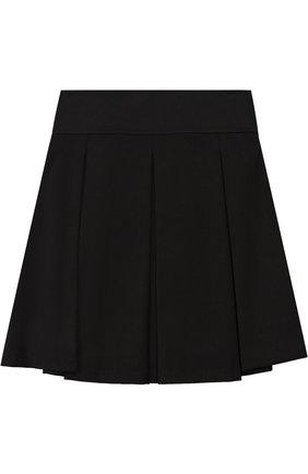 Детская мини-юбка с широким поясом и защипами Aletta черного цвета   Фото №1