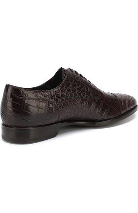 Дерби из кожи крокодила на шнуровке Zilli темно-коричневые   Фото №4