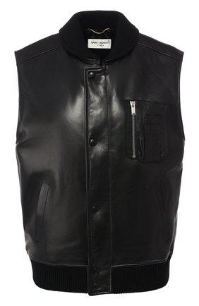 Кожаный жилет с карманами | Фото №1