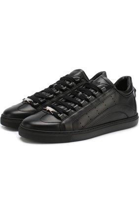 Мужские кожаные кеды 551 на шнуровке DSQUARED2 черного цвета, арт. SNM0006 06500001 | Фото 1