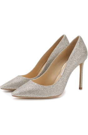 Женская туфли romy с глиттером на шпильке JIMMY CHOO серебряного цвета, арт. R0MY 100/DGZ | Фото 1