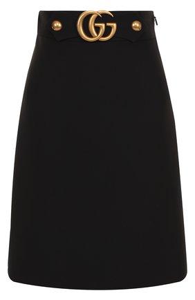 Однотонная шерстяная юбка-миди | Фото №1