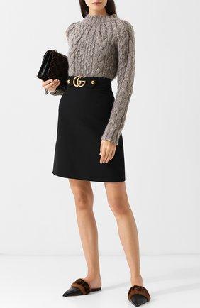 Однотонная шерстяная юбка-миди | Фото №2