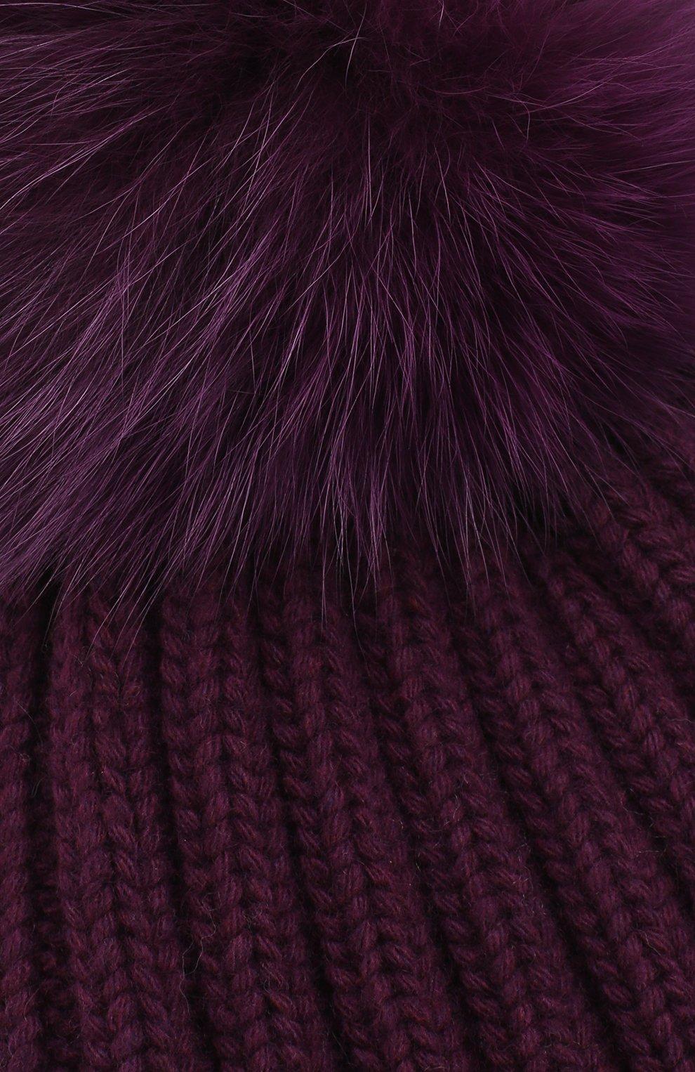 Шапка фактурной вязки с меховым помпоном | Фото №3