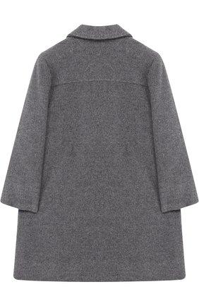 Однобортное пальто свободного кроя с оборками Aletta серого цвета   Фото №1