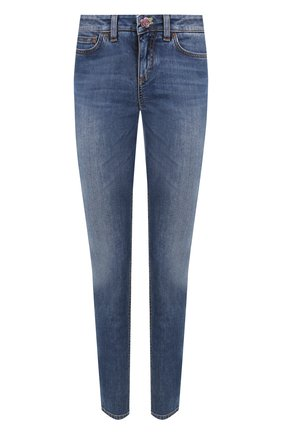 Женские джинсы прямого кроя с потертостями DOLCE & GABBANA синего цвета, арт. FTAQWD/G890R | Фото 1