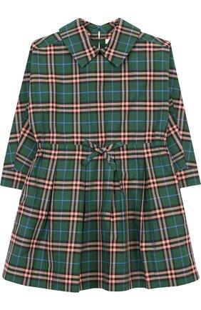 Хлопковое платье с поясом на кулиске   Фото №1