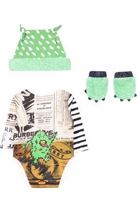 Детское комплект из боди с шапкой и носков BURBERRY разноцветного цвета, арт. 8002681 | Фото 2
