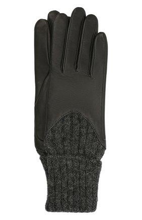Женские кожаные перчатки с вязаными манжетами AGNELLE темно-серого цвета, арт. CECILIA/A | Фото 1