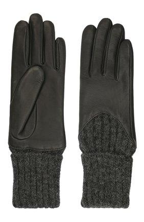 Женские кожаные перчатки с вязаными манжетами AGNELLE темно-серого цвета, арт. CECILIA/A | Фото 2