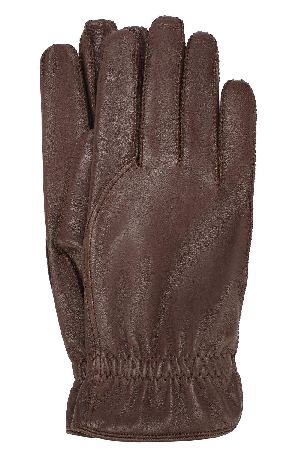Мужские кожаные перчатки LORO PIANA коричневого цвета, арт. FAI3252   Фото 1
