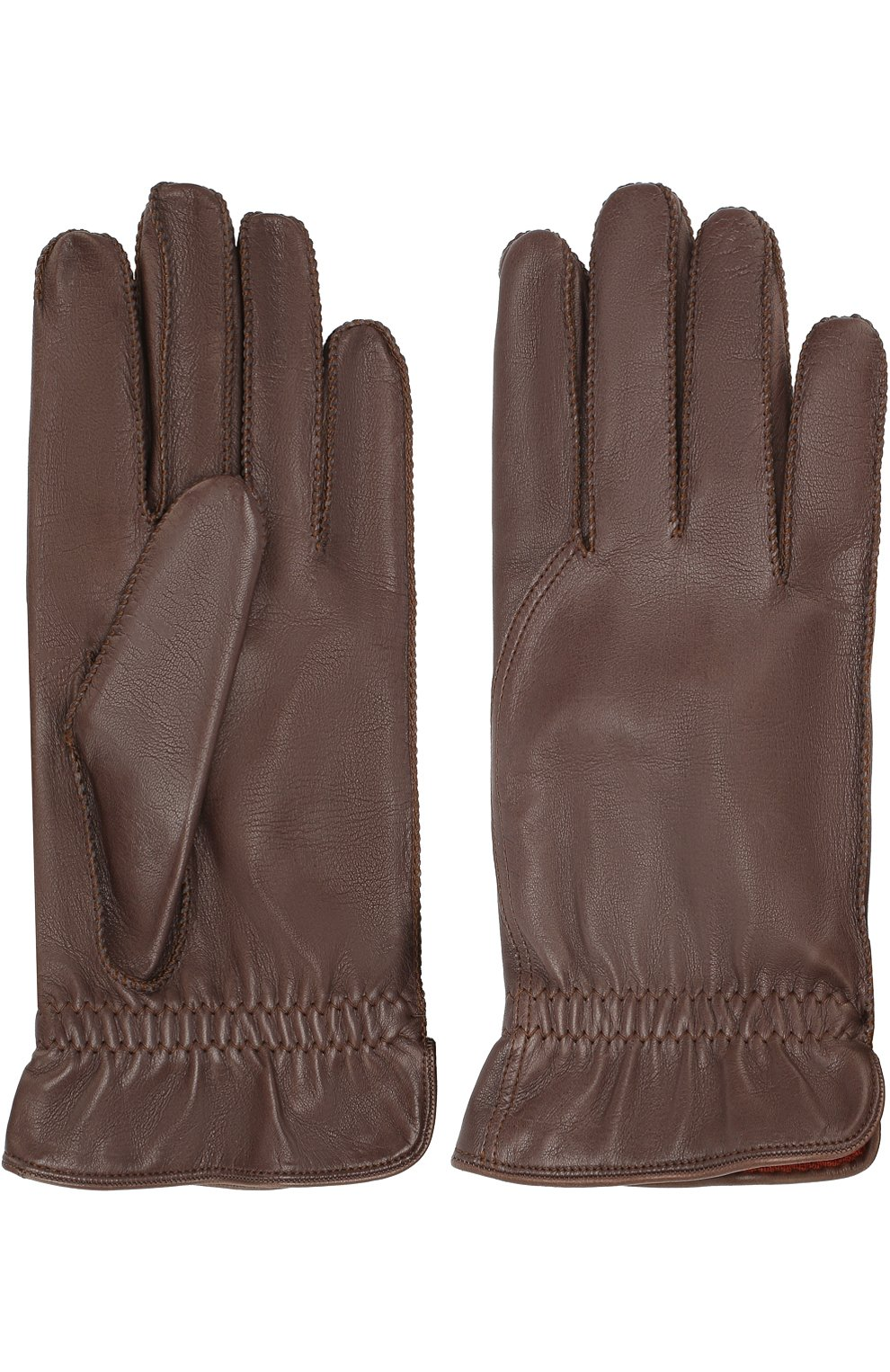 Мужские кожаные перчатки LORO PIANA коричневого цвета, арт. FAI3252   Фото 2